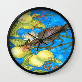 Fruits and Fantasy: Guava/Blackbird Wall Clock