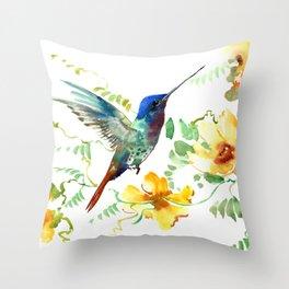 Blue Hummingbird and Yellow Flowers Throw Pillow