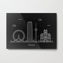 Tianjin Minimal Nightscape / Skyline Drawing Metal Print