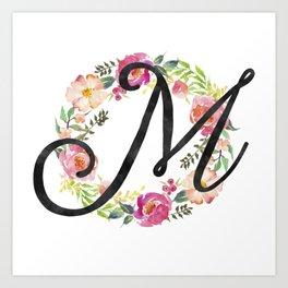 Floral M Monogram Art Print