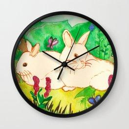 Garden Bunnies Wall Clock