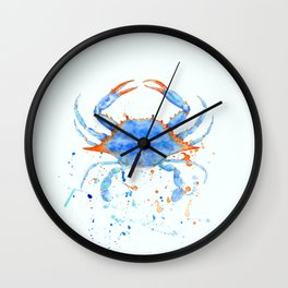 Watercolor blue crab paint splatter Wall Clock