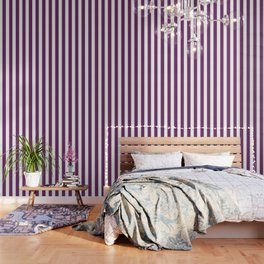 Byzantium violet - solid color - white vertical lines pattern Wallpaper