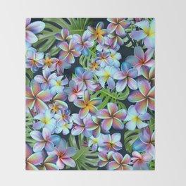 Rainbow Plumeria Dark Throw Blanket