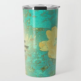 Serenity Prayer Peony Yellow Turquoise Travel Mug