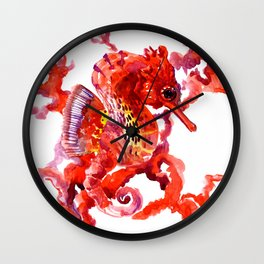 Seahorse, Coral red Scarlet Artwork Wall Clock