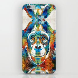 Colorful Chimp Art - Monkey Business - By Sharon Cummings iPhone Skin