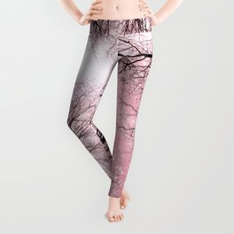 Black Trees Pink Sky Leggings