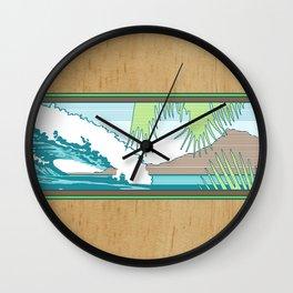 Ala Moana Diamond Head Hawaiian Surf Sign Wall Clock