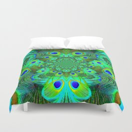 Ornate Green-Gold-Purple Peacock Feathers Art Duvet Cover