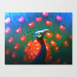 Social Media Peacock Canvas Print