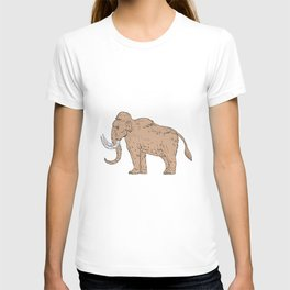 Woolly Mammoth Side Drawing T-shirt