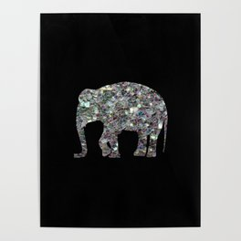 Sparkly colourful silver mosaic Elephant Poster
