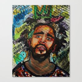 J cole,kod,album,music,rap,cole world,hiphop,rapper,masculine,cool,fan art,wall art,portrait,paint Canvas Print