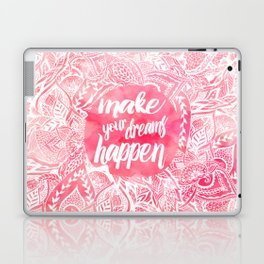 Modern motivational dreams quote floral watercolor Laptop & iPad Skin