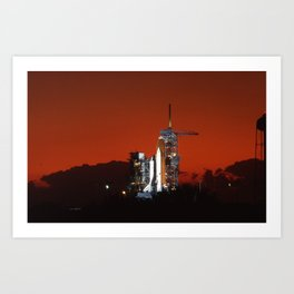 Shuttle with fantastic sunset Art Print