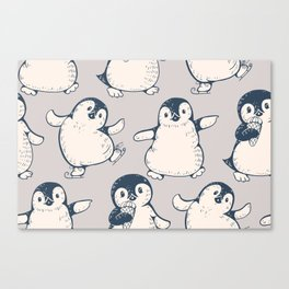 Monochrome seamless pattern with cute penguins. Hand-drawn illustration Canvas Print