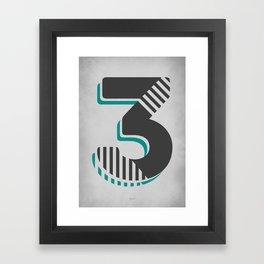 Number 3 Typography Framed Art Print