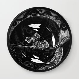 Orca Flow black-and-white Wall Clock