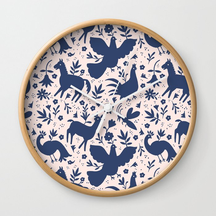 Otomi ink on blush Wall Clock