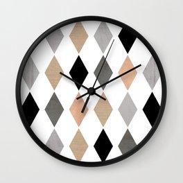 Scandinavian pattern . Grunge. Diamonds . Wall Clock
