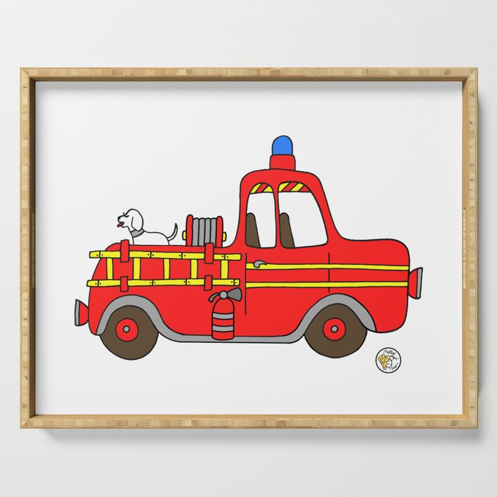 red vintage firetruck Serving Tray