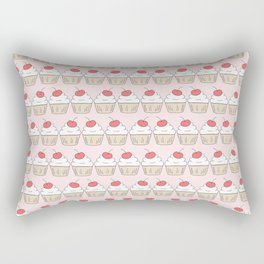Cherry Cupcakes - Pink Doodle Pattern Rectangular Pillow