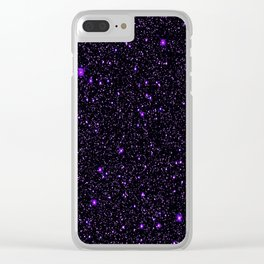 Purple Galaxy Space StarS Clear iPhone Case