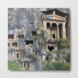 Rock Tombs Photograph Fethiye Metal Print