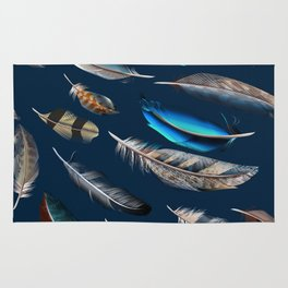 Feather blue. In fashion. Trendy pattern Rug