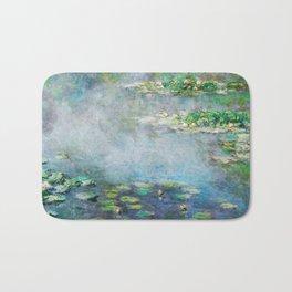 1906 Waterlily on Canvas.  Claude Monet . Vintage fine art. Bath Mat