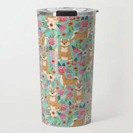 Shiba inu mint florals cute flowers dog breed must have gifts for pet dog lover unique dog breed art Travel Mug