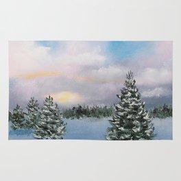 Sunset Winter Snow Rug