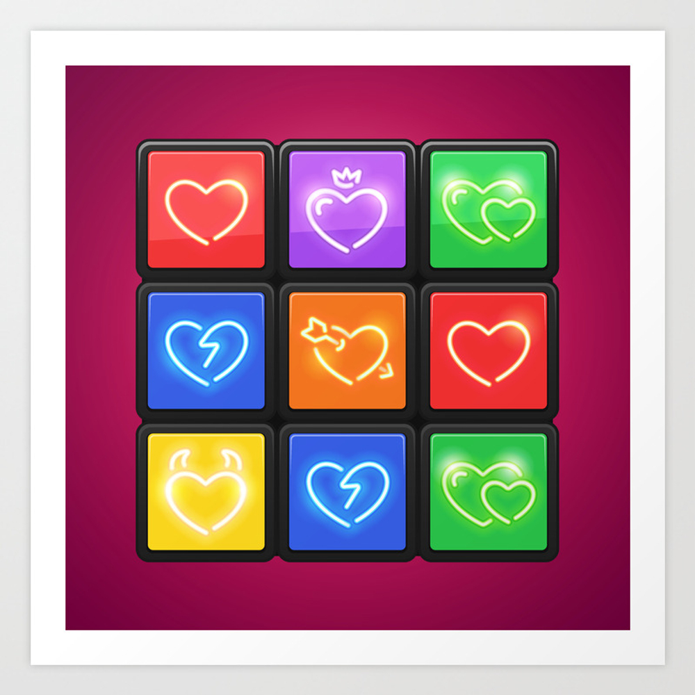 Rubik's Cube With Love Puzzle Art Print by Voysla PRN8595387