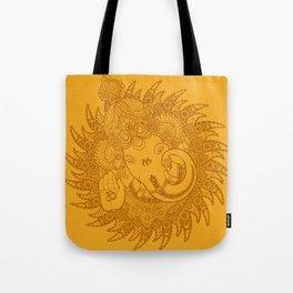 Ganesha Lineart Yellow Tote Bag