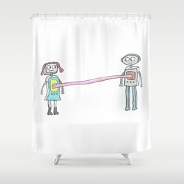 Two Robots, Stuck Together with Gum Shower Curtain