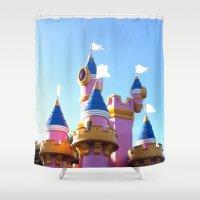 princess peach Shower Curtains featuring Where's Princess Peach? by Sam Skyler