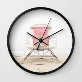 Beach photography pink tower Wall Clock