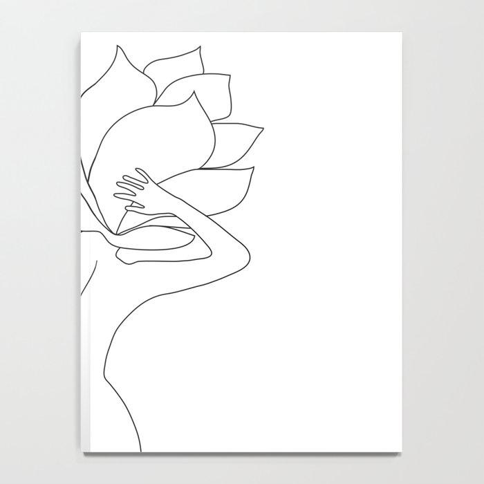 Minimal Line Art Flower Woman Notebook