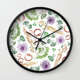 Garden Veggies - Bright on White Wall Clock