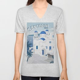 Vintage Santorini poster Unisex V-Neck
