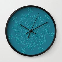 Teal mandala Wall Clock