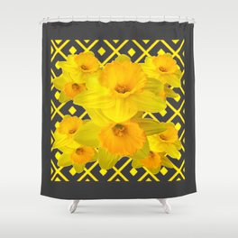 Golden Spring Daffodils Charcoal Grey Art Shower Curtain