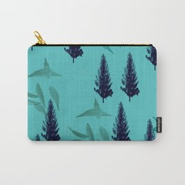 Trees & Leaves On Blue Background Carry-All Pouch