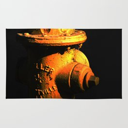 Fire Hydrant Orange and Black Art - Hot - Sharon Cummings Rug