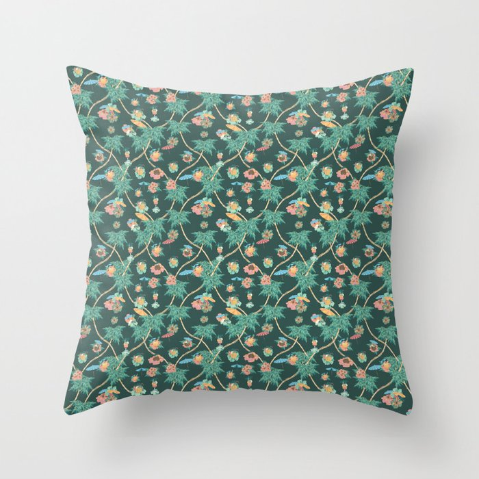 Tropical nights with cocktail pattern Throw Pillow