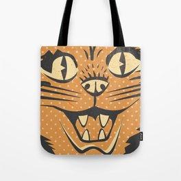 Spooky Vintage Halloween Feline Cat Face Tote Bag