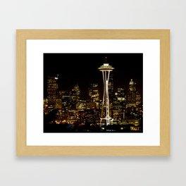 Seattle Nightscape Framed Art Print