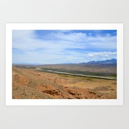 out west wildlife landscape photography orange and blue ground and sky nature Art Print