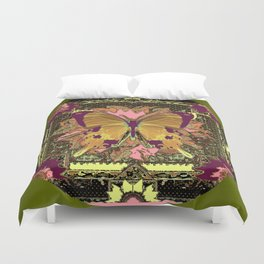 Ornate Mauve Swallow Tailed Butterfly Yellow-Khaki Design Duvet Cover